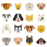 Teste degli animali domestici domestici Cani divertenti nello stile piano illustrazione vettoriale