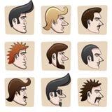 Teste degli uomini del fumetto Immagine Stock