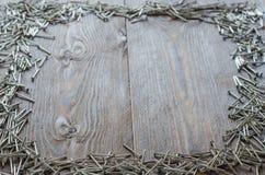 Teste del chiodo bullette per suole sul legno Fotografie Stock Libere da Diritti