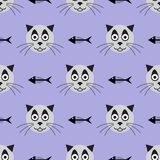 Teste del gatto e degli scheletri sorridenti del pesce Reticolo senza giunte divertente Illustrazione di vettore illustrazione vettoriale