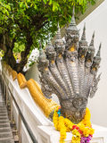 7 teste del Naga in tempio buddista, Tailandia Fotografia Stock Libera da Diritti