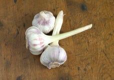 Teste dell'aglio sul primo piano di legno del fondo Fotografia Stock