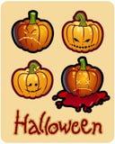 Teste della zucca del Halloween della Jack-O-Lanterna Immagini Stock Libere da Diritti