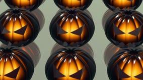 Teste della zucca di Halloween sulla superficie dello specchio illustrazione di stock