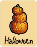 Teste della zucca di s '\ di Halloween tre della presa Immagini Stock Libere da Diritti