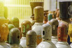 Teste delle bombole a gas industriali fotografia stock libera da diritti