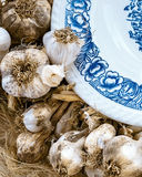 Teste di aglio e di un primo piano del piatto Immagini Stock