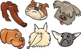 Teste di cani divertenti del fumetto impostate Fotografia Stock Libera da Diritti