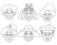 Teste di Clown's nei colori bianchi e neri, insieme royalty illustrazione gratis