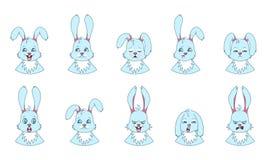 Teste di coniglio con differenti emozioni - sorridendo, tristi, rabbia, aggressione, sonnolenza, affaticamento, malizia, timore Fotografia Stock Libera da Diritti
