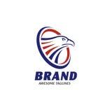 Teste di Eagle con il logo del cerchio Fotografia Stock Libera da Diritti