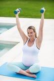 Teste di legno di sollevamento della donna incinta Fotografia Stock Libera da Diritti