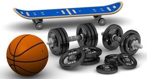 Teste di legno, pallacanestro e pattino Immagine Stock
