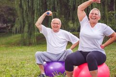 Teste di legno di sollevamento delle coppie senior mentre sedendosi sulla palla di forma fisica dentro Immagini Stock Libere da Diritti