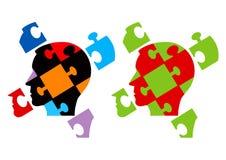 Teste di puzzle che simbolizzano psicologia Fotografie Stock Libere da Diritti