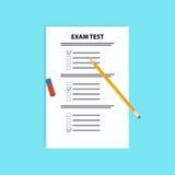 Teste do exame da escola com pena e eliminador Ilustração lisa do vetor Imagem de Stock Royalty Free