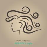 Teste femminili con bei capelli. vettore Fotografia Stock Libera da Diritti