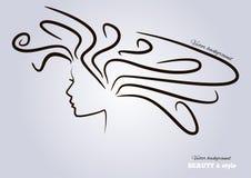 Teste femminili con bei capelli. vettore Immagine Stock Libera da Diritti