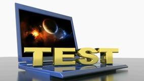 TESTE no laptop - vídeo da rendição 3D ilustração do vetor