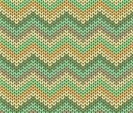 Teste padrão étnico bonito de Autumn Knitted Abstract Geometric Zigzag em verde, em alaranjado, Brown e bege Fotografia de Stock Royalty Free