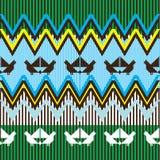 Teste padrão étnico com pássaro Ilustração Stock