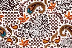 Teste padrão étnico de paisley com pontos do leopardo ilustração do vetor