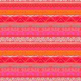 Teste padrão étnico listrado na laranja vermelha vibrante Fotografia de Stock