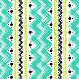 Teste padrão étnico pintado com pinceladas do ziguezague Fotografia de Stock