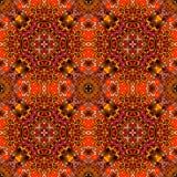 Teste padrão étnico sem emenda em tons mornos com as flores vermelhas no fundo geométrico abstrato Fotografia de Stock Royalty Free