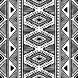 Teste padrão étnico sem emenda Ilustração preto e branco do vetor Foto de Stock