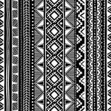 Teste padrão étnico sem emenda Ornamento geométrico preto e branco Pri Imagem de Stock Royalty Free