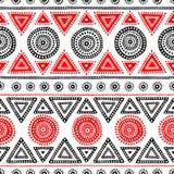 Teste padrão étnico sem emenda Tribal e asteca Vermelho, branco e preto Fotografia de Stock