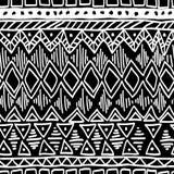 Teste padrão étnico sem emenda Vetor preto e branco Imagens de Stock Royalty Free