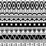 Teste padrão étnico sem emenda Vetor preto e branco Fotos de Stock Royalty Free