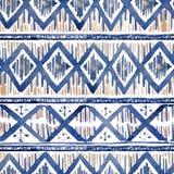 Teste padrão étnico vibrante do rombo no estilo do watercolour fotos de stock royalty free