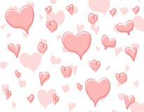 Teste padrão 3 do fundo dos corações do Doodle Fotografia de Stock Royalty Free