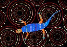 Teste padrão aborígene - lagarto Fotografia de Stock