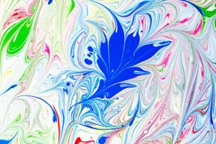 Teste padrão abstrato, arte tradicional de Ebru Pintura da tinta da cor com ondas Fundo floral Fotografia de Stock Royalty Free