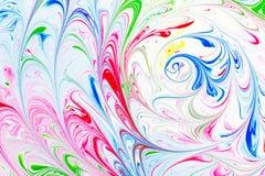 Teste padrão abstrato, arte tradicional de Ebru Pintura da tinta da cor com ondas Fundo floral Fotografia de Stock