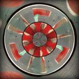 Teste padrão abstrato circular cinzento vermelho radial Imagens de Stock Royalty Free