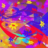 Teste padrão abstrato de elementos multi-coloridos ilustração do vetor