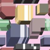 Teste padrão abstrato de formas geométricas tridimensionais Imagens de Stock Royalty Free
