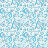 Teste padrão abstrato do ano novo com flocos de neve azuis e redemoinhos Fotos de Stock