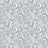 Teste padrão abstrato do ano novo com flocos de neve e redemoinhos no cinza Imagem de Stock Royalty Free