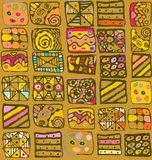 Teste padrão abstrato do desenho a mão livre das formas geométricas Imagens de Stock