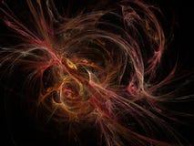 Teste padrão abstrato do fractal da incandescência escuro - curvas vermelhas Imagens de Stock Royalty Free