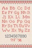 Teste padrão abstrato feito malha feito a mão do fundo com alfabeto Imagens de Stock