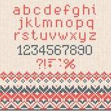Teste padrão abstrato feito malha feito a mão do fundo com alfabeto, lowe Fotografia de Stock