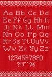 Teste padrão abstrato feito malha feito a mão do fundo com alfabeto, uppe Imagem de Stock Royalty Free