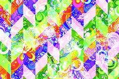 Teste padrão abstrato geométrico com o ornamento floral do estilo de Zentangle Fotografia de Stock Royalty Free